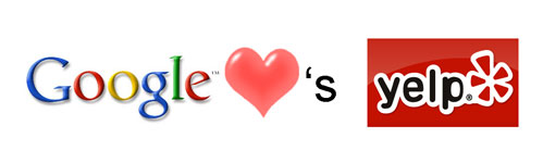 Google Hearts Yelp